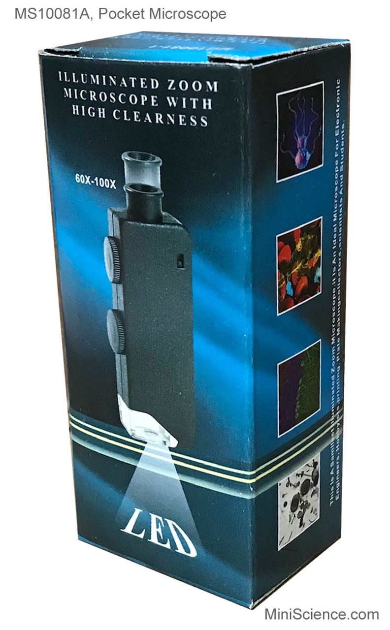 Packaging of Pocket Microscope Zoom 60X - 100X with white LED light has one knob to adjust magnification and another knob to focus.