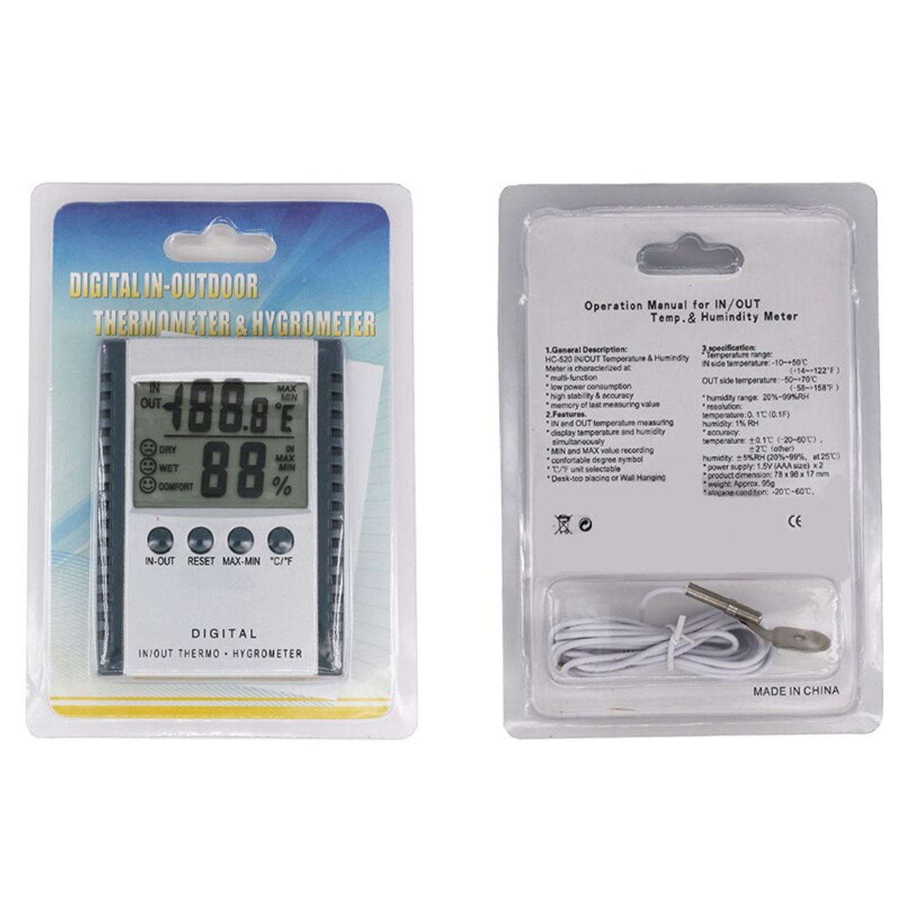 Digital Thermometer / Hygrometer (Indoor - Outdoor)