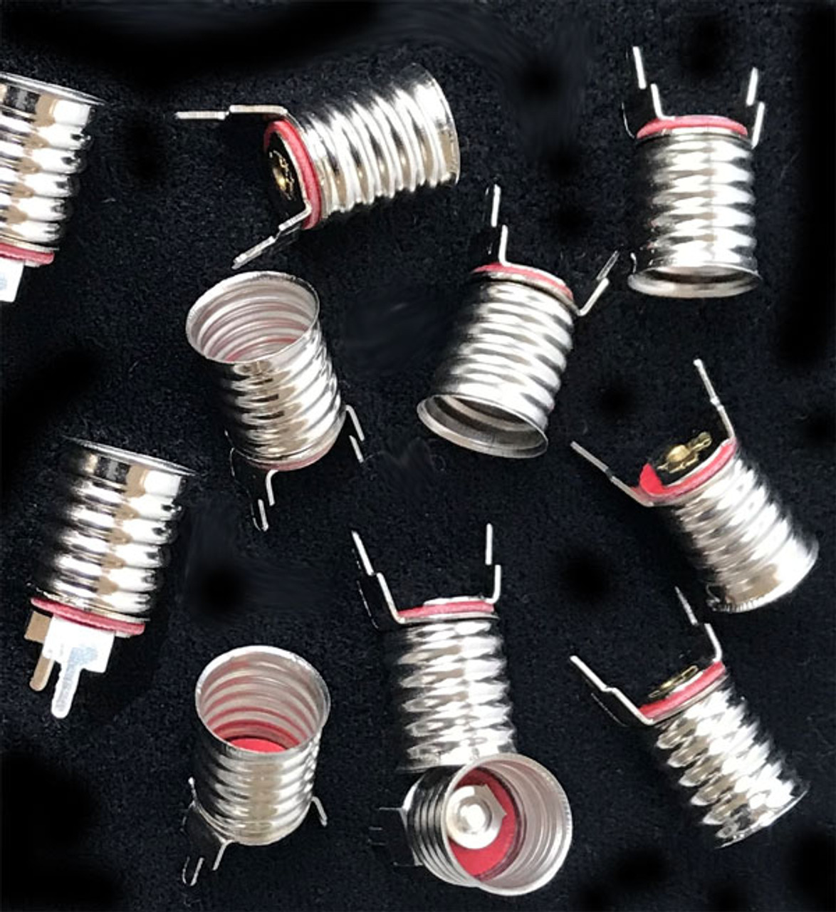 Set of 10 miniature lamp bases with pins