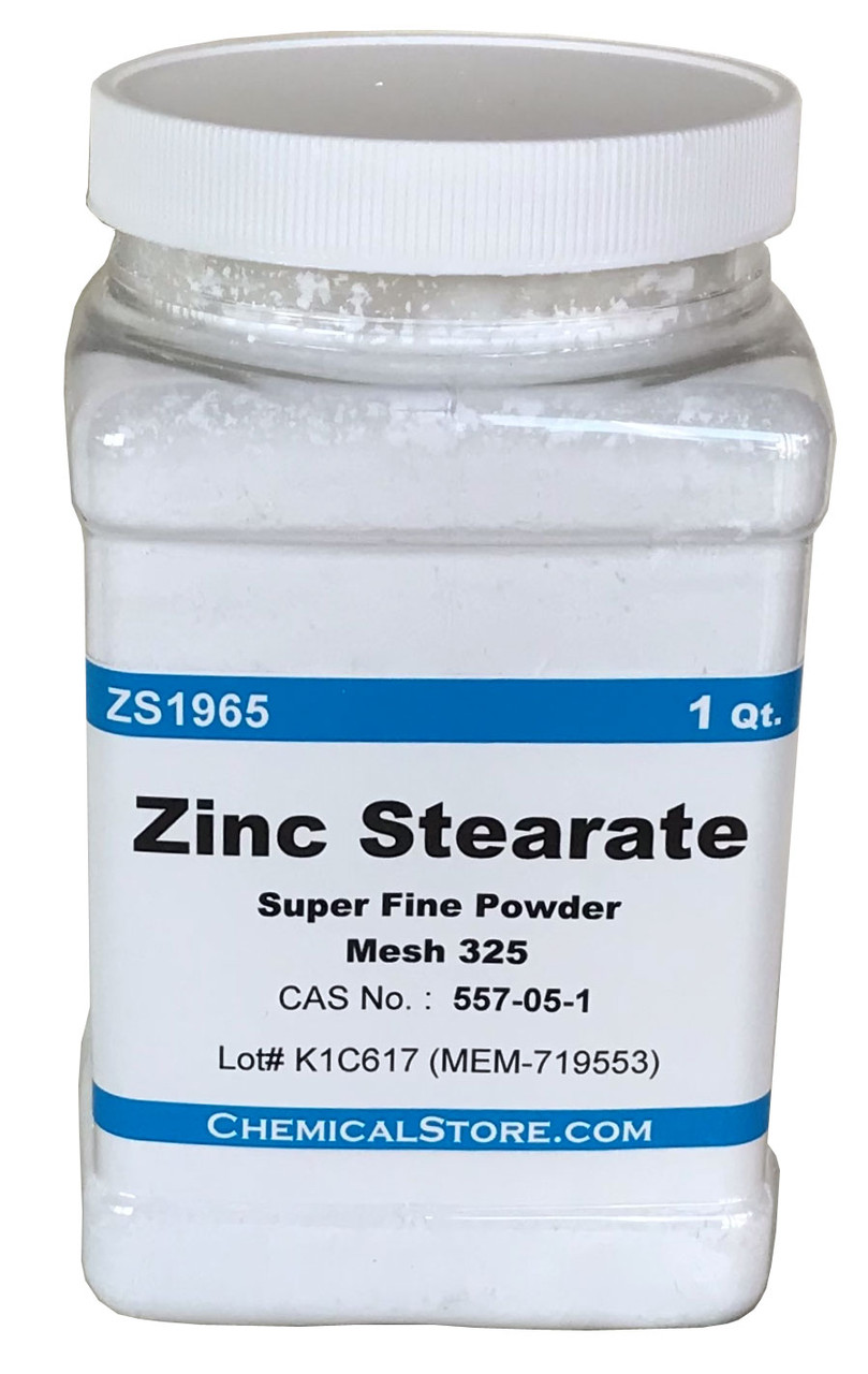 Zinc Stearate, fine soft powder, Mesh 325, Extra Dense, High Stability. Repels water. Perfect for mold release. A dry lubricant. Clear when molten. Used as a die release agent in powder metallurgy.
