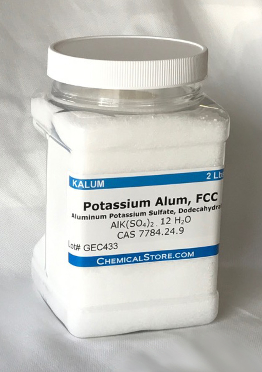 Potassium alum is commonly used in water purification, leather tanning, dyeing, fireproof textiles, and as a component of baking powder. It also has cosmetic uses as a deodorant, as an aftershave treatment and as a styptic for minor bleeding from shaving.