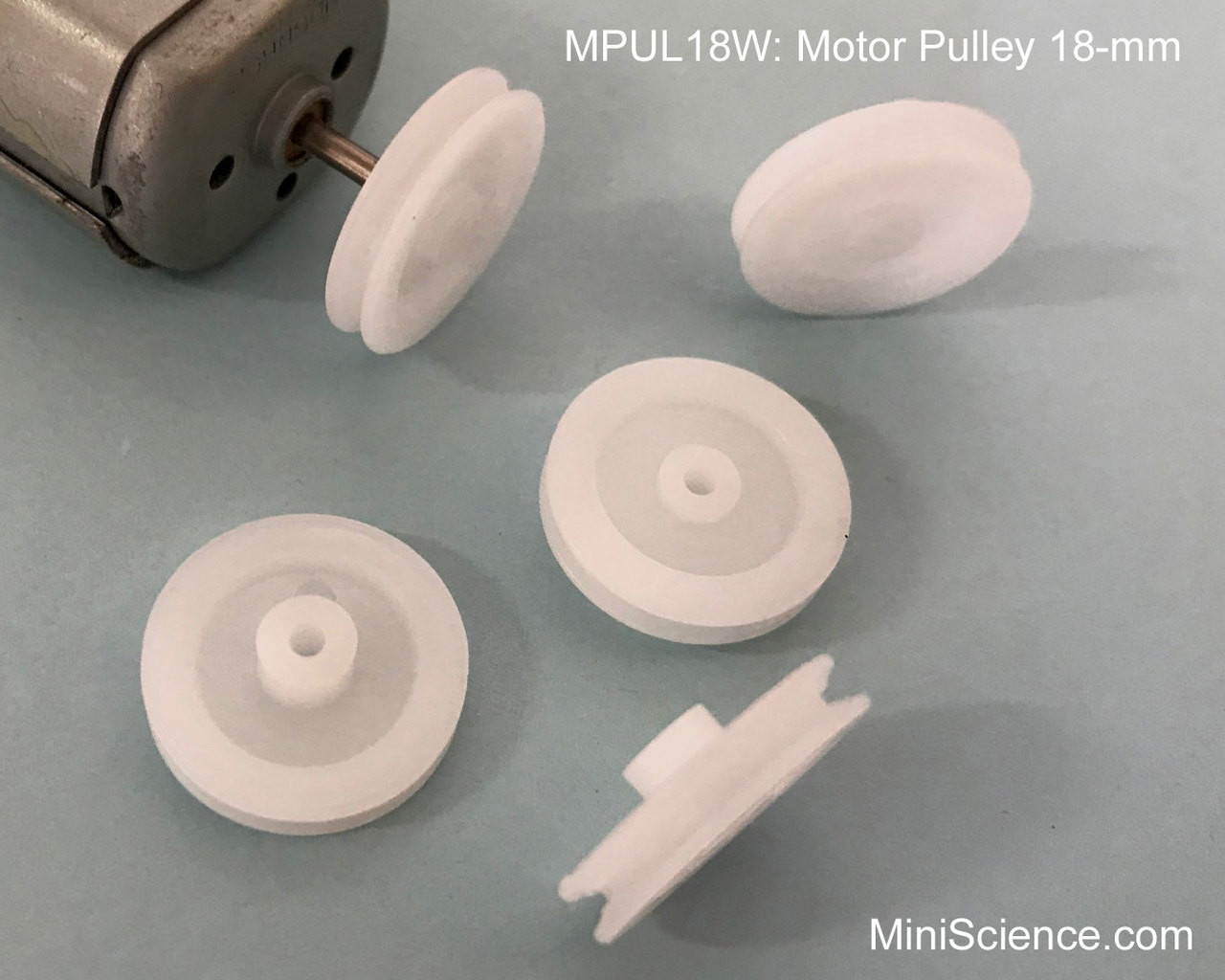 Motor Pulley 18-mm White for small motors with 2-mm shaft