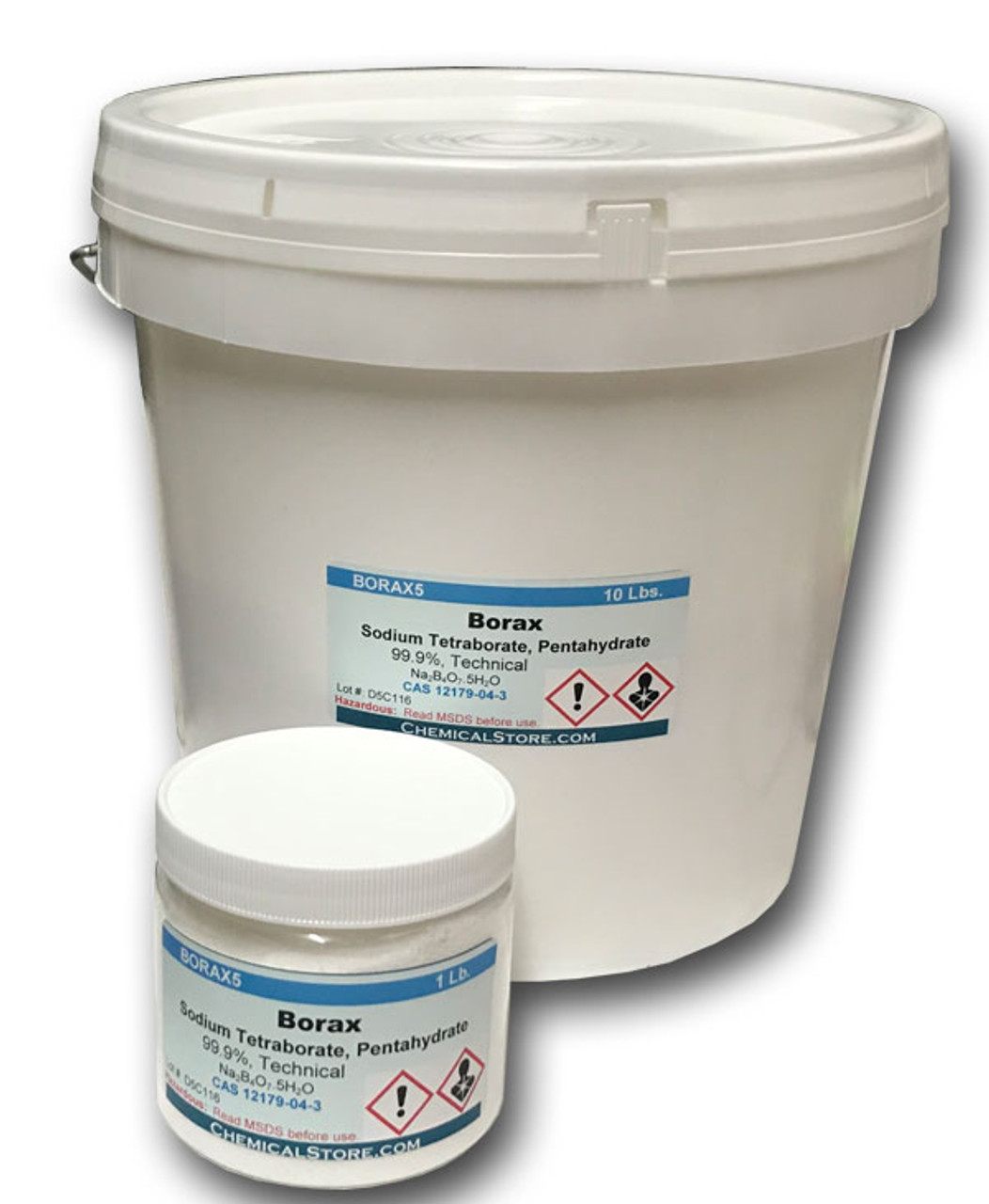 High purity borax, pentahydrate in jars and pails