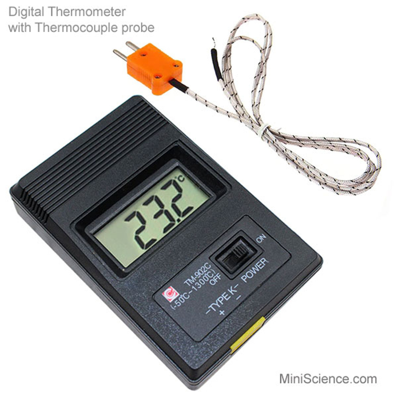 Digital thermometer with thermocouple probe.