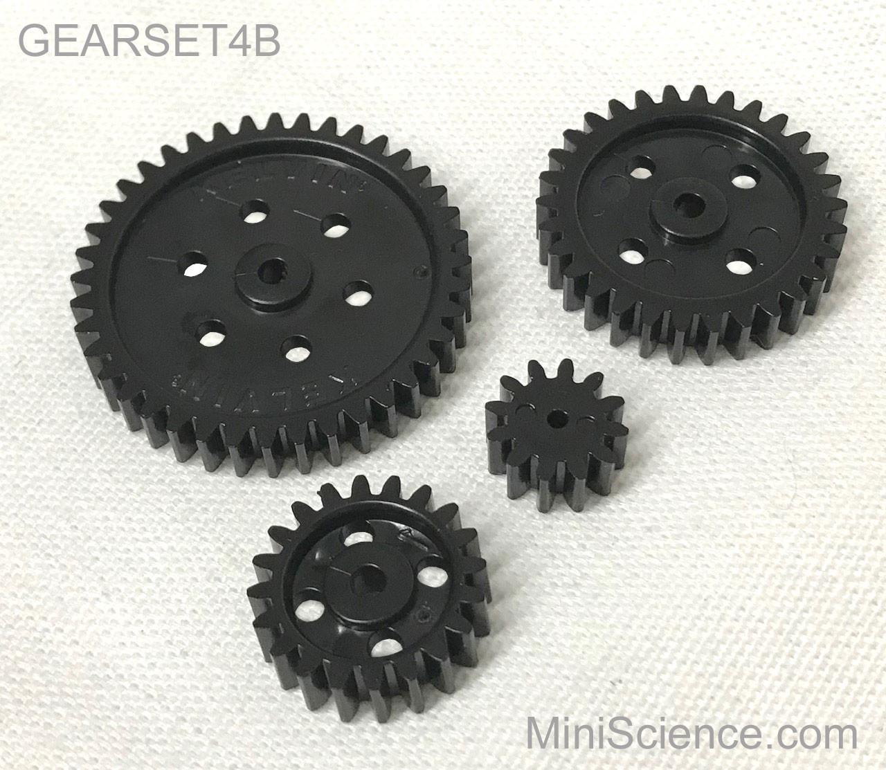 Gear set, Set of 4 plastic gears, black