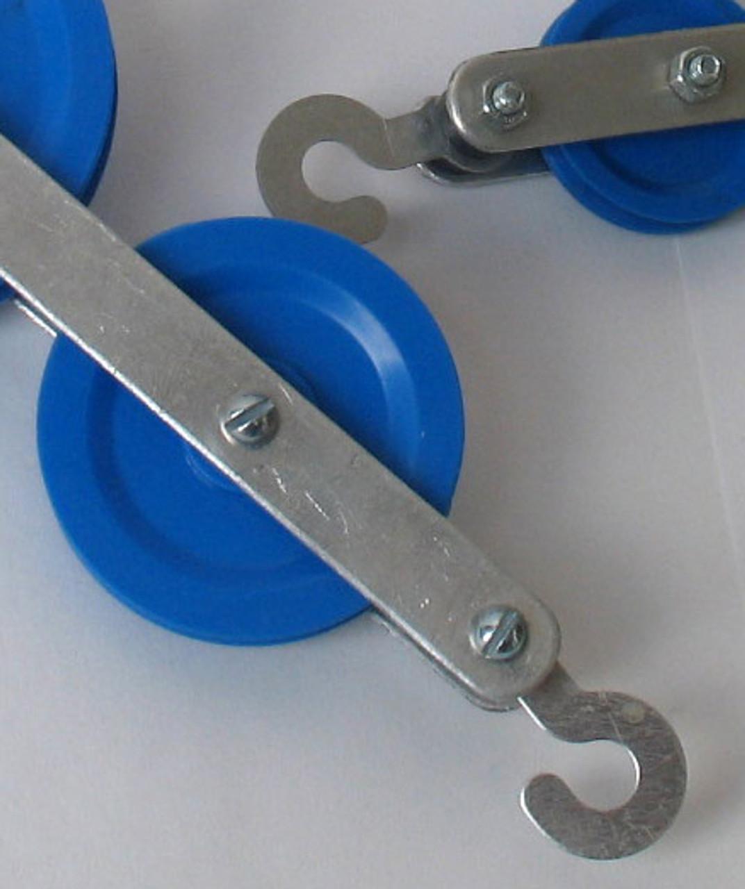 Plastic pulleys on metal assembled frames
