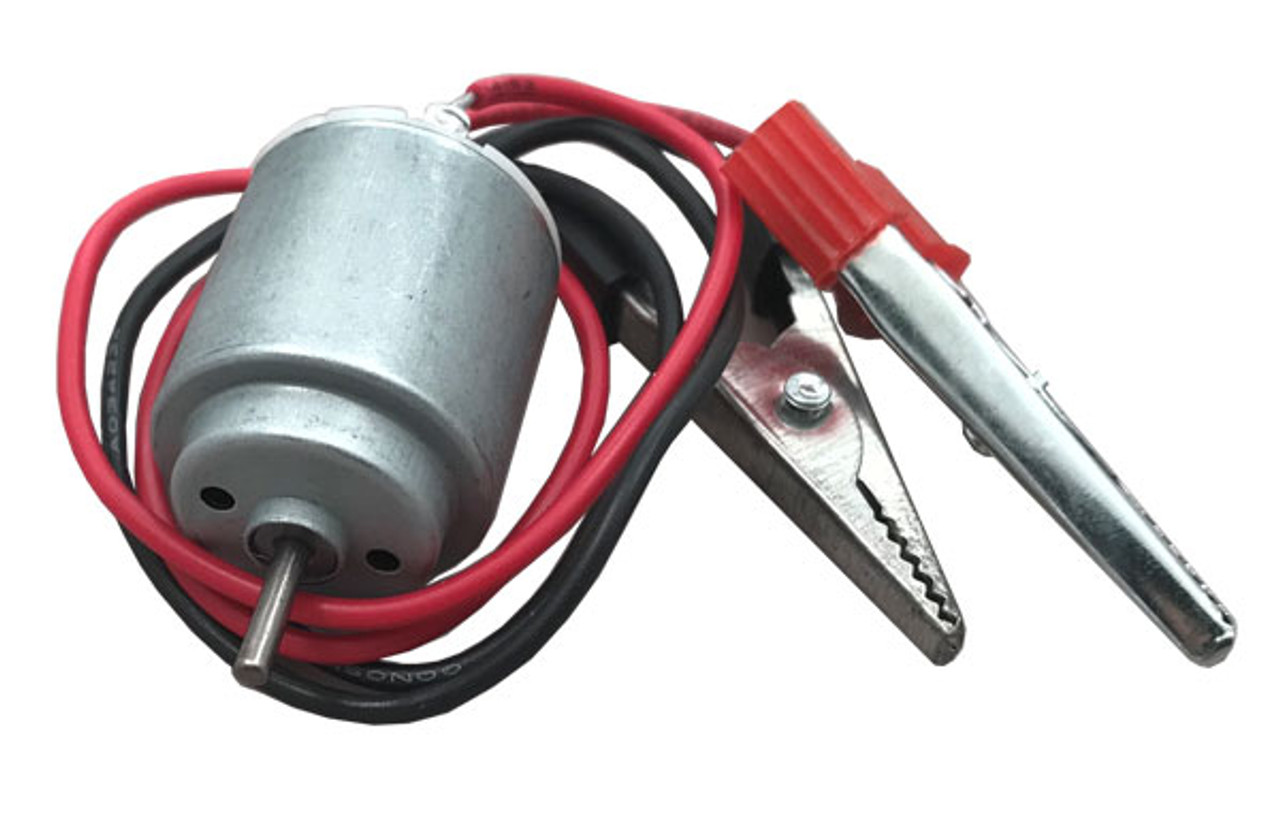 Toy motor, DC Motor, round, with wires and alligator clips