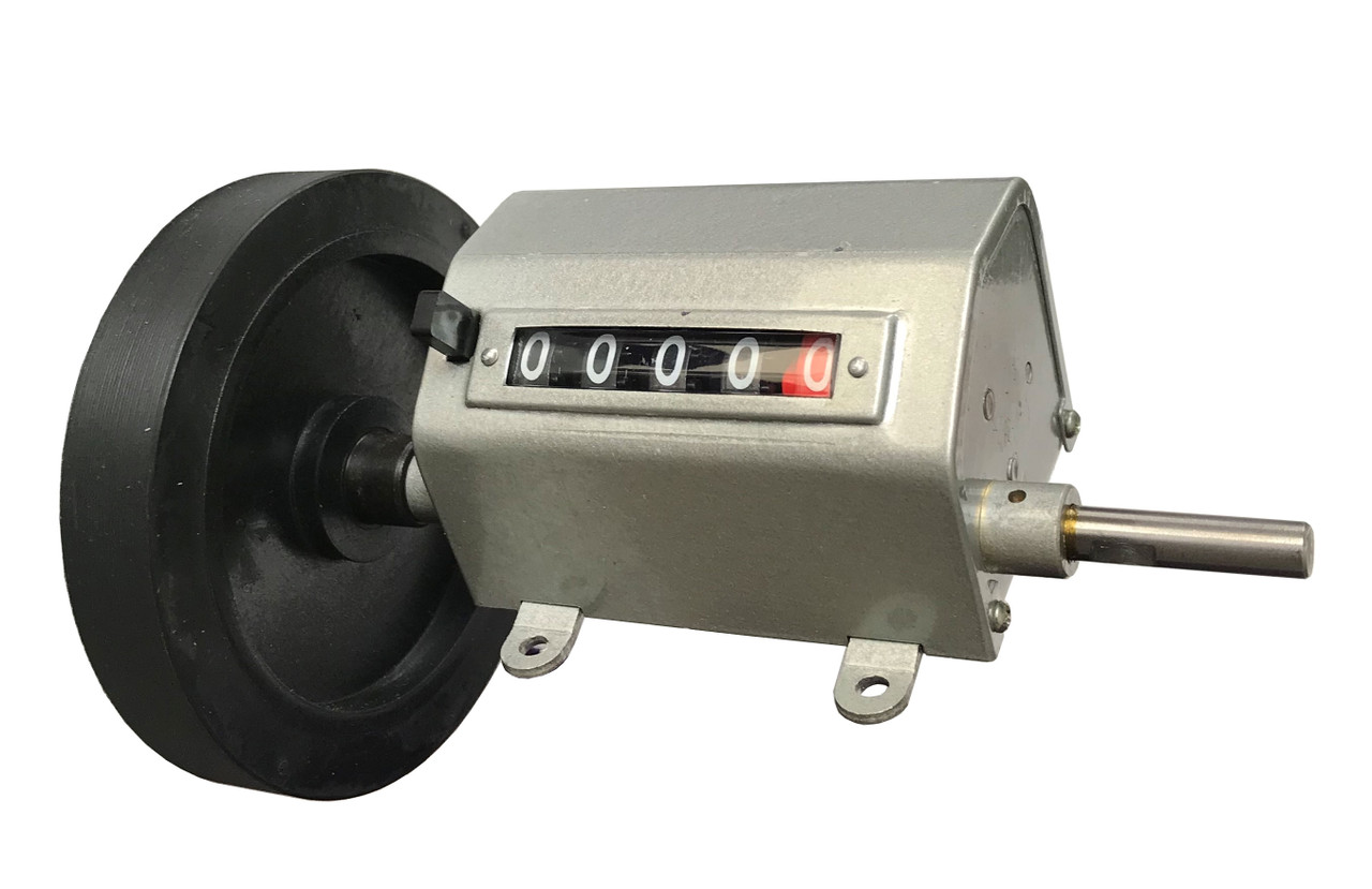 Yard counter length measuring roller for films, textile, paper rolls and more. Front view