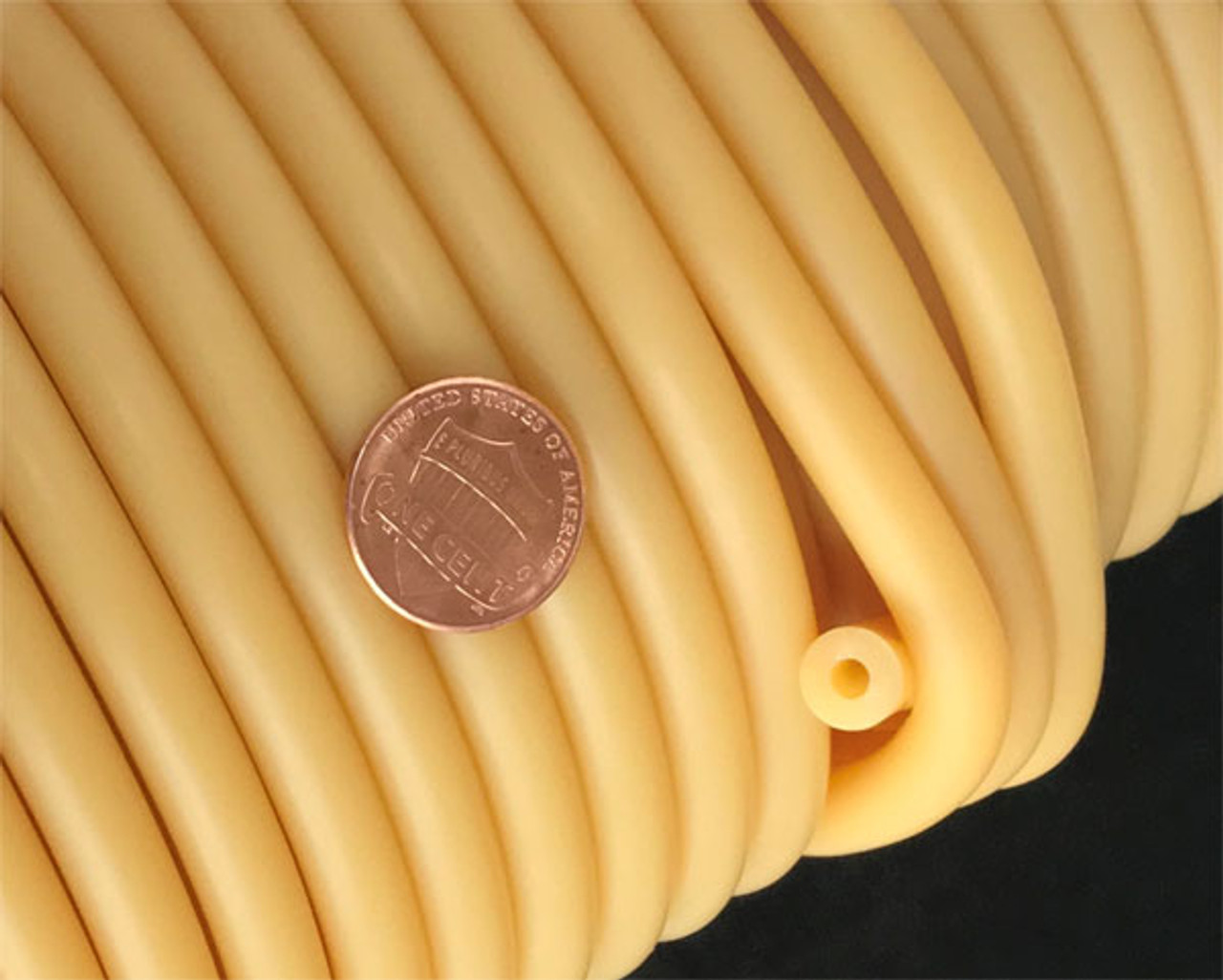 "Rubber Tubing Natural Amber 1/8"" ID, super thick wall (3/32"")"
