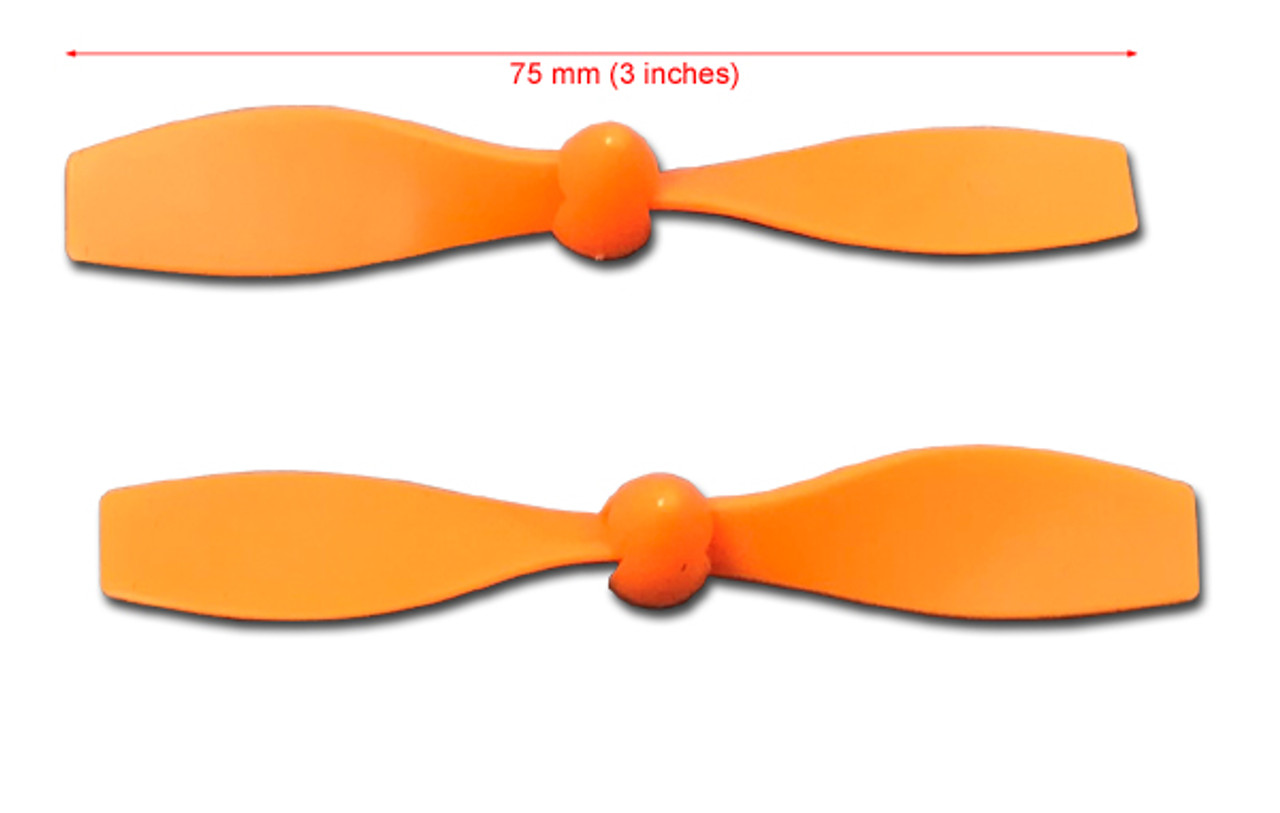 One pair of 75mm propellers with spinner cones. Fit any 2mm shaft.