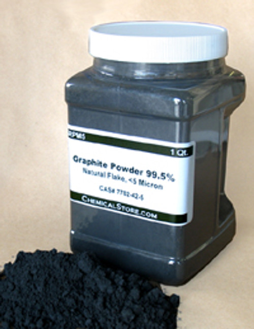 Dry lubricant grade graphite powder with metallic shine in quart container.
