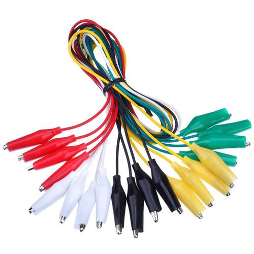Set of 10 alligator clip jumper wires, connection wires.