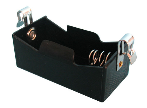 D cell size plastic battery holder with metal springs and Fahnstock clips