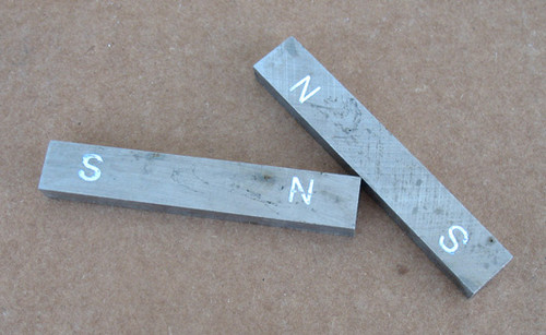ALNICO Bar Magnet, Not Painted, Poles are marked with N and S