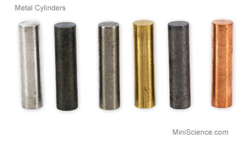 Set of 6 Solid Metal Cylinders, Iron, Aluminum, Brass, Zinc, Copper and Lead