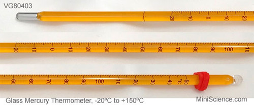 3 Glass Mercury Thermometers, -20ºC to +150ºC, Closeup image