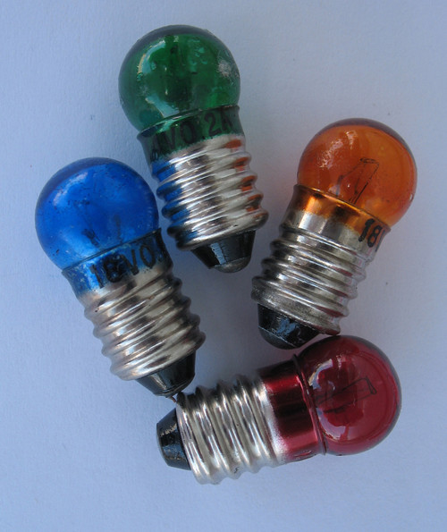 Colored Light Bulbs, 6V - 18V DC (Select Color), Pack of 10