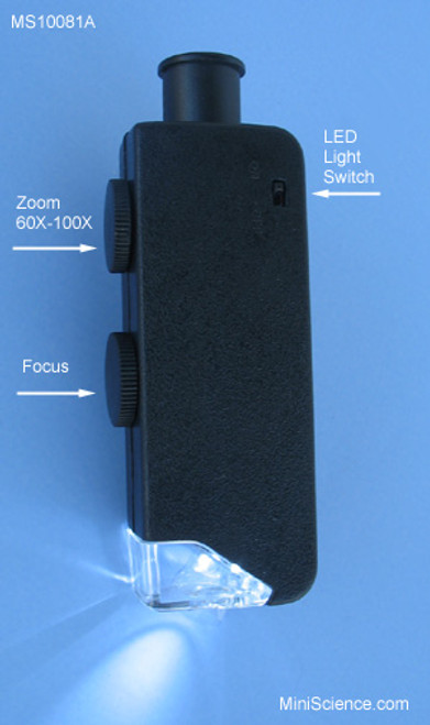 Parts of Pocket Microscope Zoom 60X - 100X with white LED light has one knob to adjust magnification and another knob to focus.