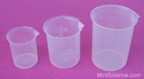 Plastic Beakers, Set of 3 (Small, Medium, Large)