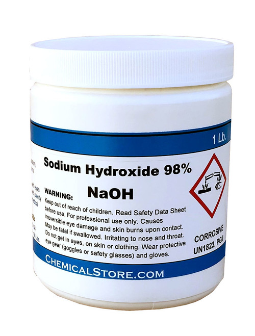 Sodium Hydroxide 98%, (Caustic Soda, Flakes)  NaOH  Synonyms: Caustic soda; Sodium hydrate; soda lye; Lye; White Caustic; lye, caustic