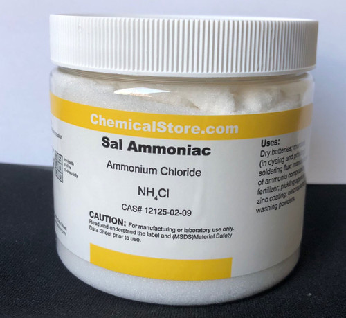 Ammonium Chloride, also known as Sal Ammoniac or Salmiak with formula NH4Cl comes in white-fine crystals; Soluble in water and glycerol; slightly soluble in alcohol.