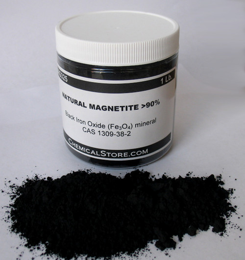 High purity synthetic magnetite fine black powder (2-4 um). Pigment quality.