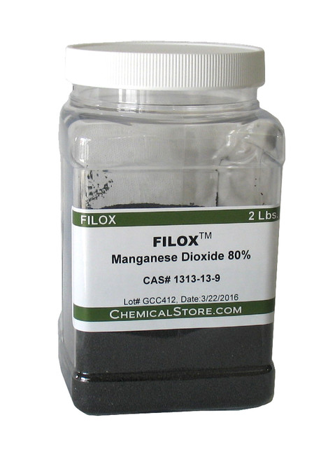 Manganese Dioxide 80%, black color, mesh 20 x 40 (consistency of fine sand).