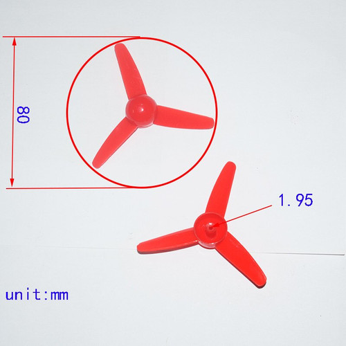 Propeller with 3 Narrow Blades, 80 mm outer diameter, Red