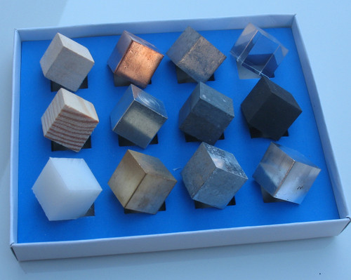 Set of 7 metal cubes and 5 non-metal cubes.