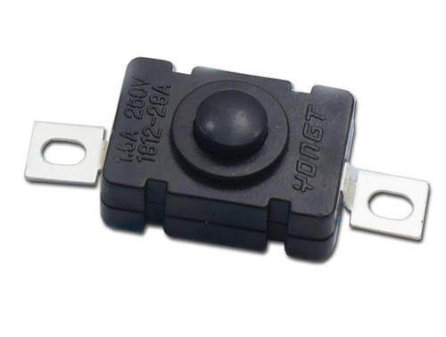 Surface mount/ screw mount, simple push button OFF/ON switch is a SPST switch, model# PBS11SM