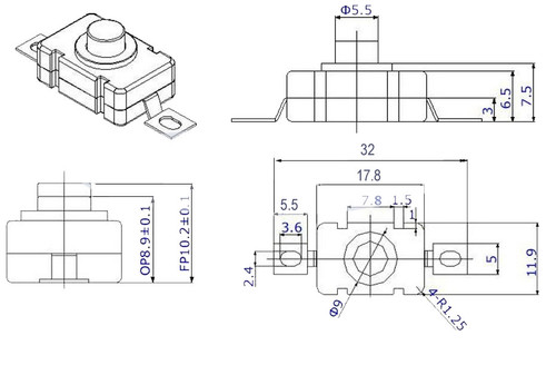 Dimensions and drawings of PBS11SM small push button switch