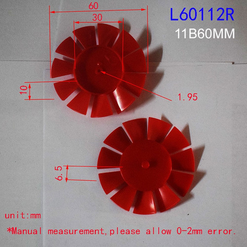 Eleven Blade Propellers with 60 mm diameter, Red