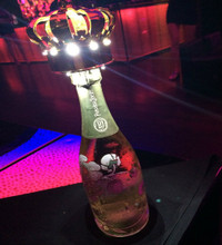 LED Champagne Crown on a bottle of champagne