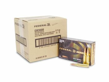 FEDERAL GOLD MEDAL MATCH 308 WINCHESTER 168 GRAIN SMK BTHP- GM308M - CASE (200 Rounds)