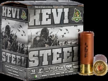 """HEVI-SHOT HEVI Steel 12ga 3"""" 1 1/4oz #1 Shot 1500fps 25rd"""