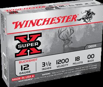 """Winchester Super-X 12ga 00 Buck 3.5"""" 18 Pellets 5rd"""