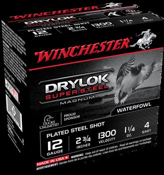 "Winchester 12ga Drylock Super Steel 2 3/4"" 1 1/4oz #4 shot- Case (250rd/10box)"