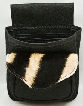 Cape Buffalo Hide & Burchell Zebra Hide Shotgun Shell Pouch Deluxe - Black
