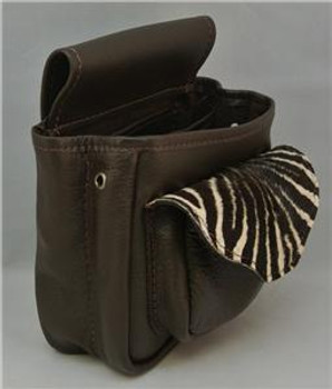Leather & Zebra Hide Shotgun Shell Bag Deluxe - Brown