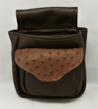 Ostrich Skin & Leather Shotgun Shell Pouch Deluxe - Brown