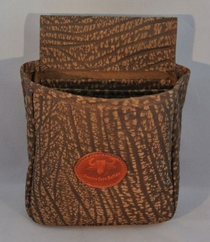 Cape Buffalo Hide Shotgun Shell Pouch - Brown and Black