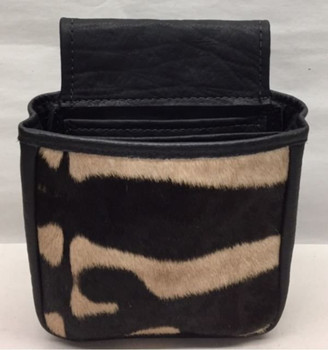 Cape Buffalo Hide & Zebra Hide Shotgun Shell Pouch - Black