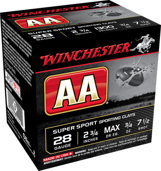 """Winchester AA SuperSport Sporting Clays  28ga 2-3/4"""" 3/4 oz 1300 fps #7.5 Shot- 1 Flat (10 Boxes) - AASC287"""