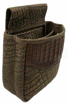 Crocodile Skin & Cape Buffalo Hide Shell Pouch Midi Style - Brown