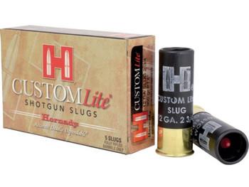 """Hornady Custom Lite Ammunition 12 Gauge 2-3/4"""" 300 Grain FTX Sabot Slug Box of 5"""