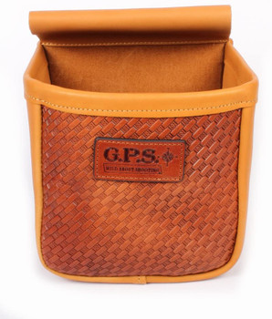 G*Outdoors GPS-L870-2 Double Shotgun Shell Pouch Basket Weave Leather - 100 Shells