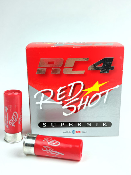 RC 4 Red Shot SuperNik, 12ga, 1oz, 1250FPS, #8.5, Nickel Coated Lead Shot, Low Brass- 25box/10case