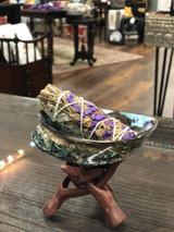 "Sage Smudge 3 Piece Gift Set; Polished Pãua Shell 4-5"" + Sage + Stand"