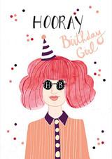 Girl in Glasses Birthday Card