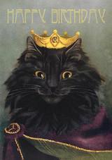 King Black Cat Birthday Card
